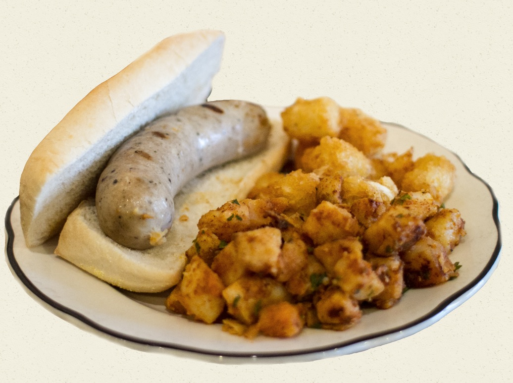 bratwurst sandwich w/ tots & fried potatoes