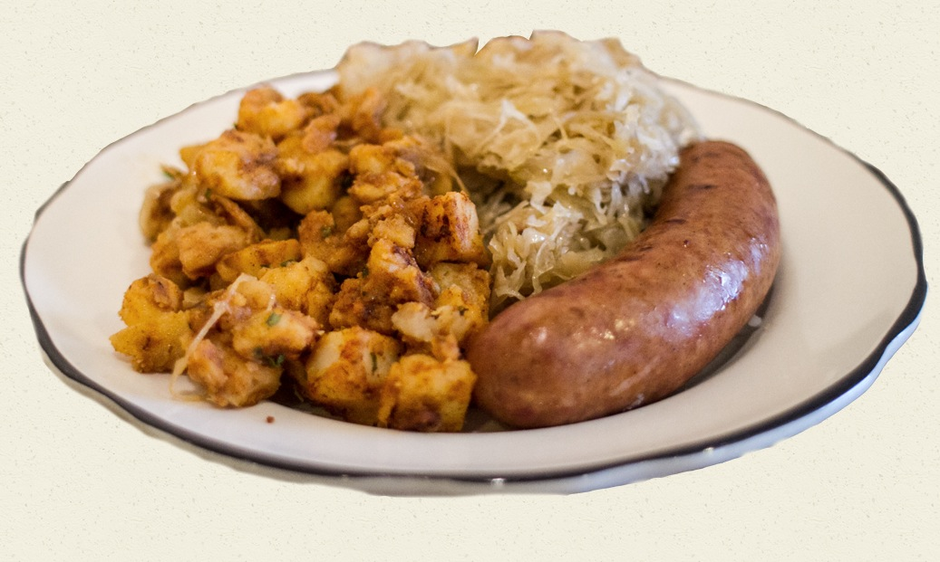 Polish sausage w/ sauerkraut & fried potatoes