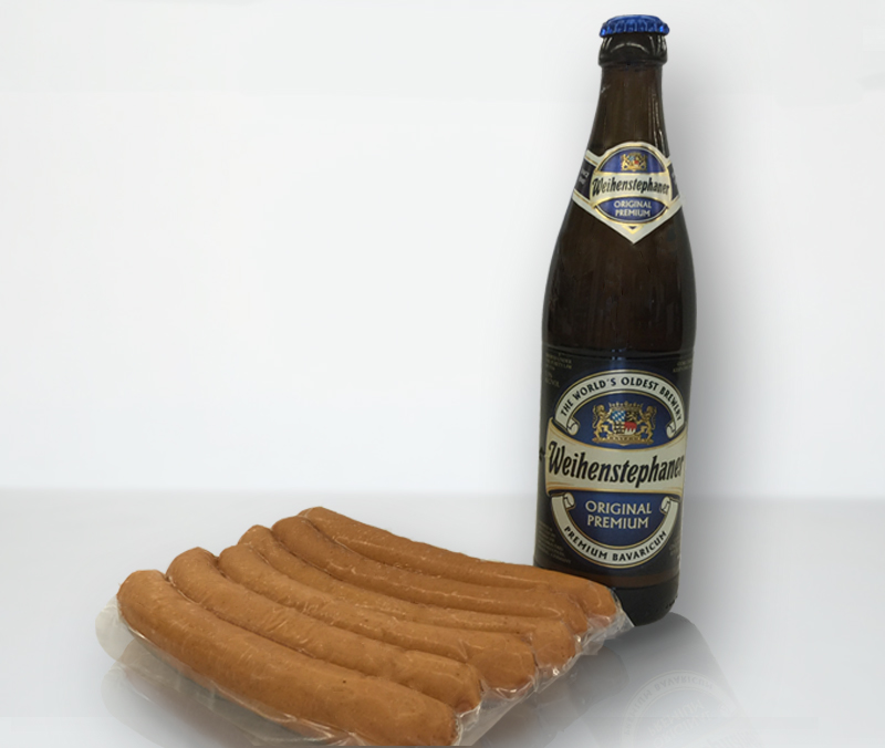 local sausage from Alpine Market paired with german beer