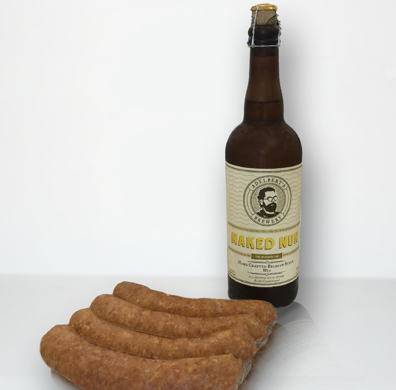 local sausage from Alpine Market paired with American craft beer