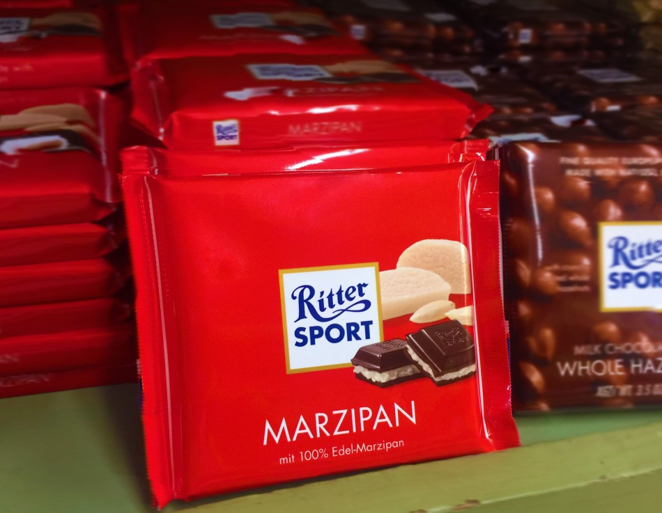 What is Marzipan? Try Ritter Sport dark chocolate covered marzipan