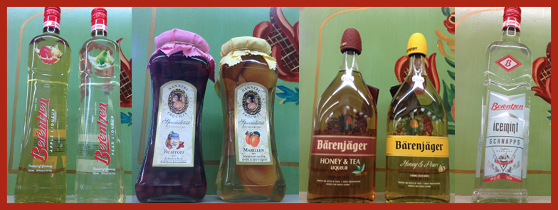 A collection of German schnapps found at Alpine Market